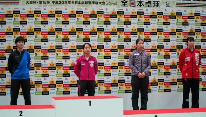平成30年度全日本卓球/大会最終日 女子シングルス 結果