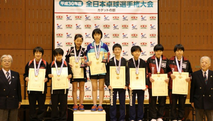 平成30年度 全日本卓球選手権大会(カデットの部) 女子ダブルス結果