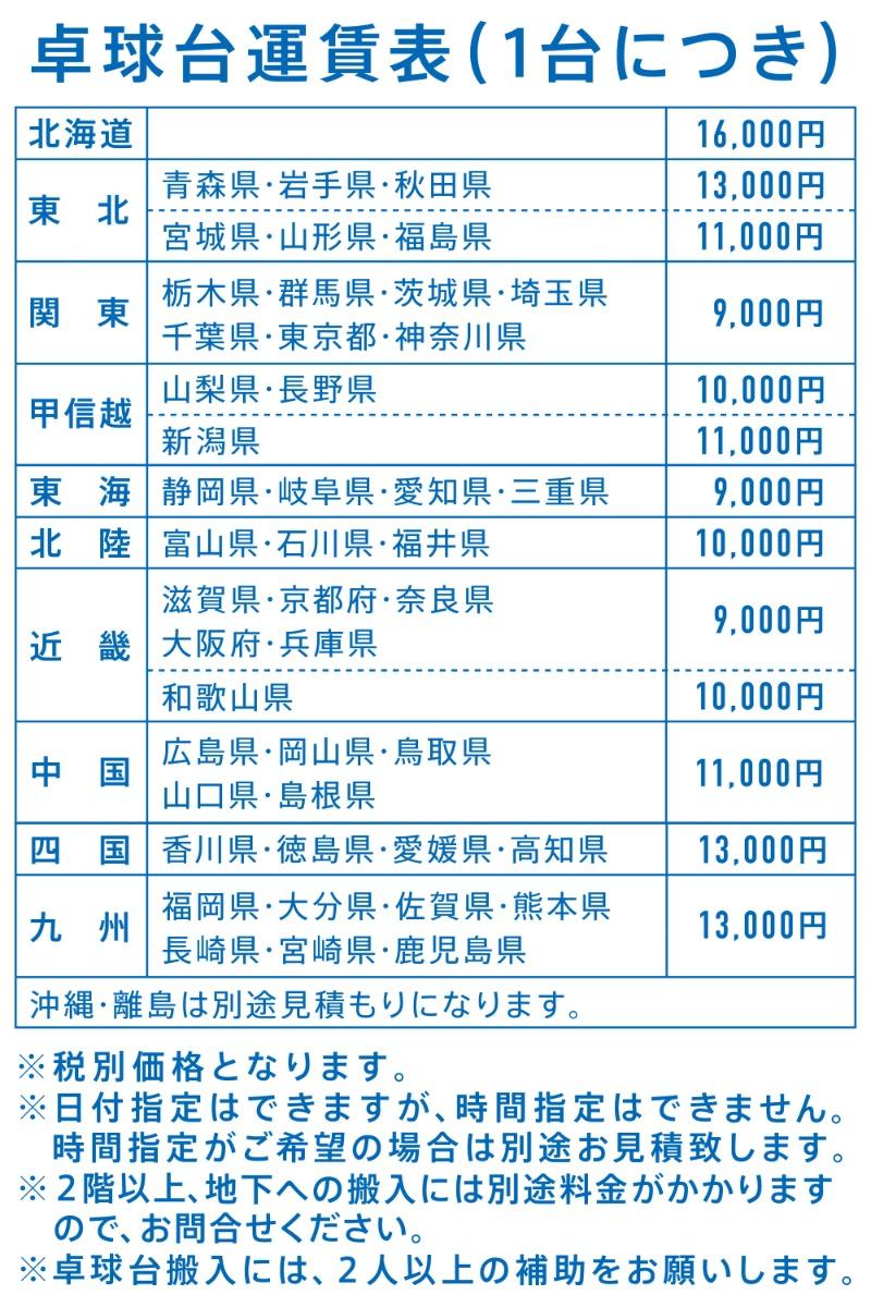 卓球台 送料 価格表 VICTAS TSP
